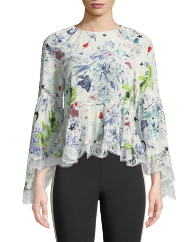 Avalon Floral-Print Silk Top w/ Lace