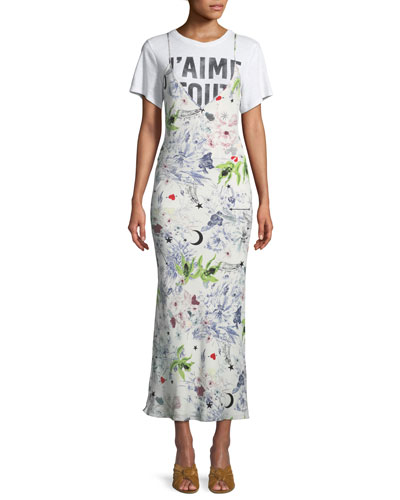 Emmalyn V-Neck Multi-Print Silk Dress