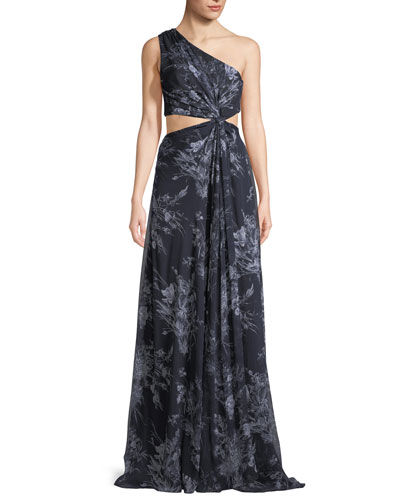 Goldie One-Shoulder Floral-Print Silk Open-Waist Gown