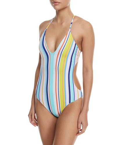 Amalfi Coast Striped Goddess One-Piece Swimsuit