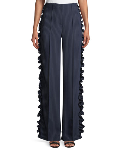 Sedona Wide-Leg Pinstripe Pants with Ruffled Trim