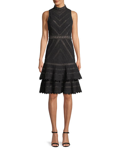 Azita Sleeveless Fit-and-Flare Tiered Lace Dress