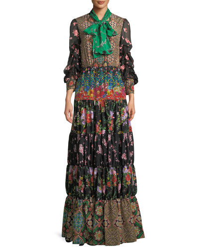 Clementine Tie-Neck Long-Sleeve Tiered Printed Maxi Dress