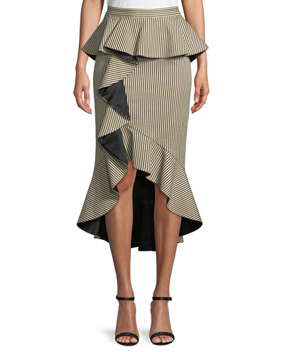 Alessandra Ruffled Peplum Striped Pencil Skirt