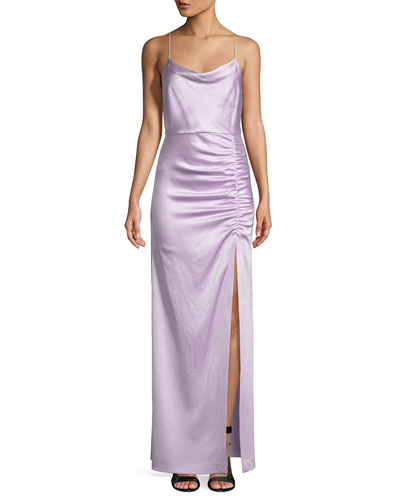 Diana Sleeveless Cowl-Neck High-Slit Column Gown