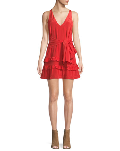 Blutie V-Neck Sleeveless A-Line Silk Dress with Ruffled Trim