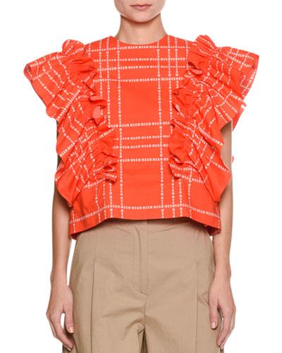 Short-Sleeve Logo-Print Ruffle Cotton Top