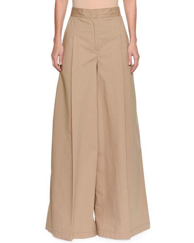 High-Waist Wide-Leg Cotton Trousers
