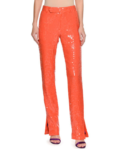 Neon Sequin Straight-Leg Trousers