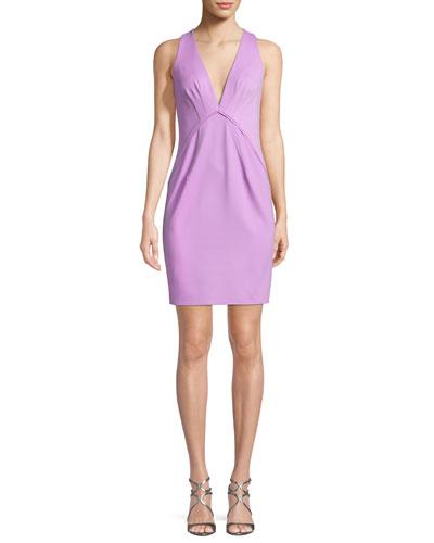 Clarise Deep V-Neck Sleeveless Cocktail Dress