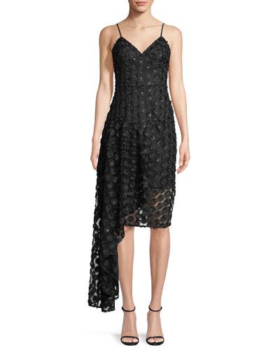 Antonia Stretch Daisy Lace Asymmetric Cocktail Dress