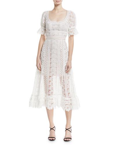 Scoop-Neck Empire-Waist Floral Lace Guipure Midi Dress