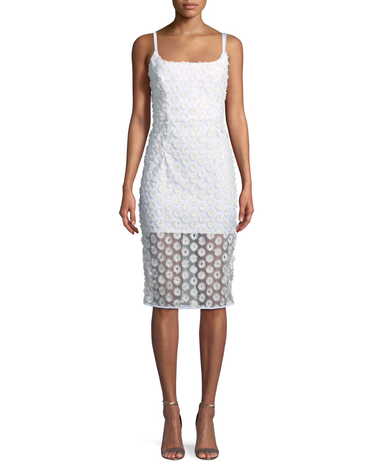 MILLY Jessie Stretch Daisy Lace Sleeveless Cocktail Dress, Ivory ...