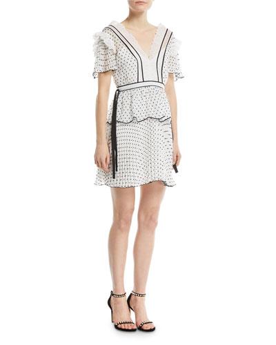 V-Neck Short-Sleeve Dotted Frilled Short Cocktail Dress