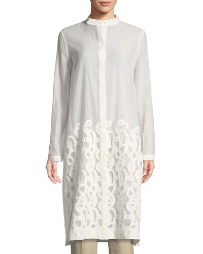 Auden Scrolled Jacquard Duster Coat