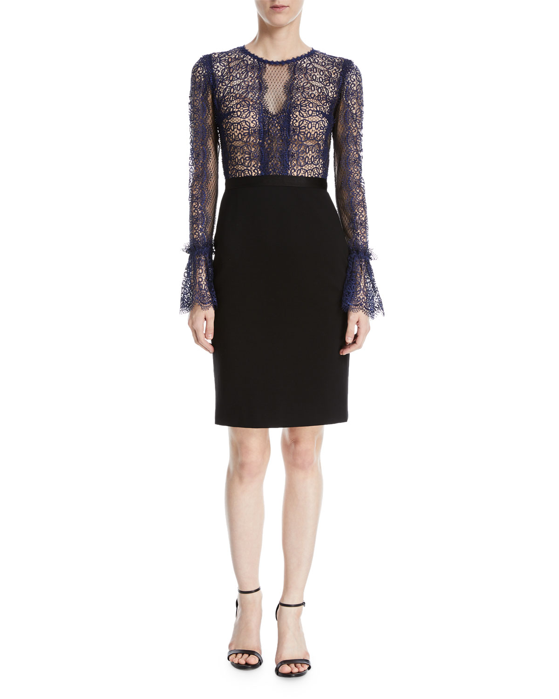 Kegan Lace & Ponte Long-Sleeve Dress