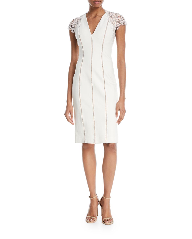Kaylor Striped Ponte Lace-Sleeve Cocktail Dress