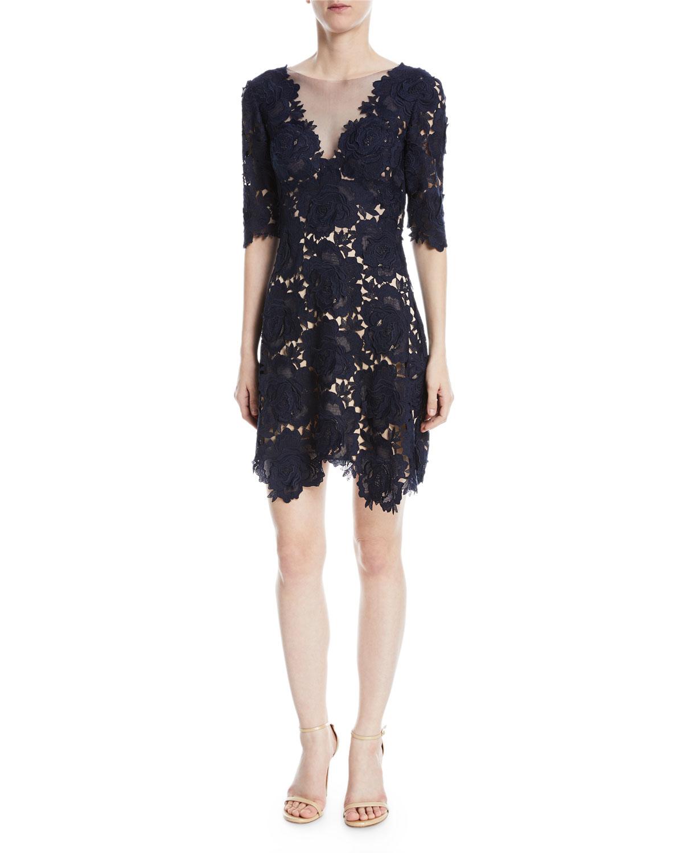 Kaya Rose Lace Mini Cocktail Dress