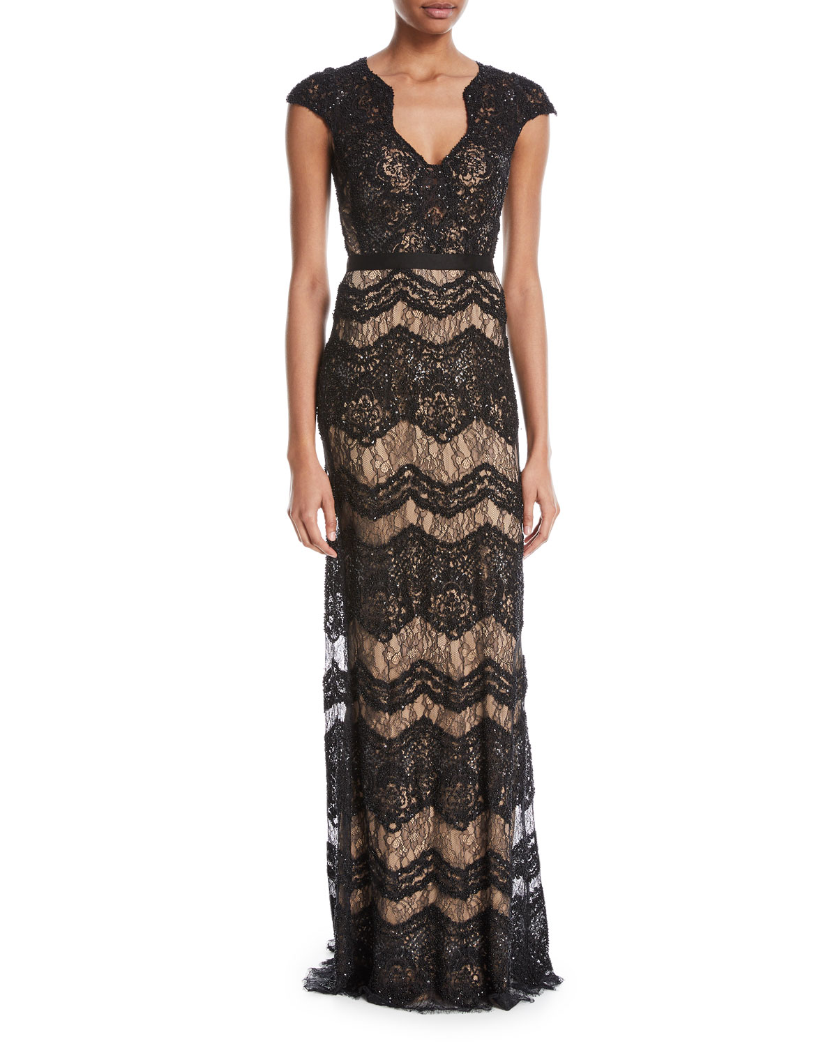 Katharine Floral Lace V-Neck Gown