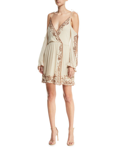 Love and Other Disasters Cold-Shoulder Silk Cocktail Dress