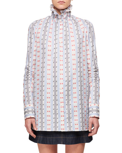 Smocked-Collar Button-Down Striped Long-Sleeve Jacquard Shirt