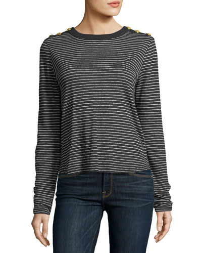 Veronica Beard  BREES CREWNECK LONG-SLEEVE STRIPED LINEN TOP