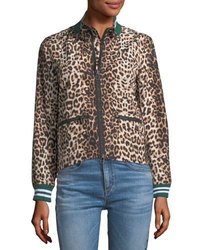 Anya Leopard-Print Anorak Jacket with Striped Rib-Knit Trim