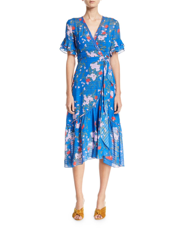 Blaire Falling Floral-Print Silk Wrap Dress