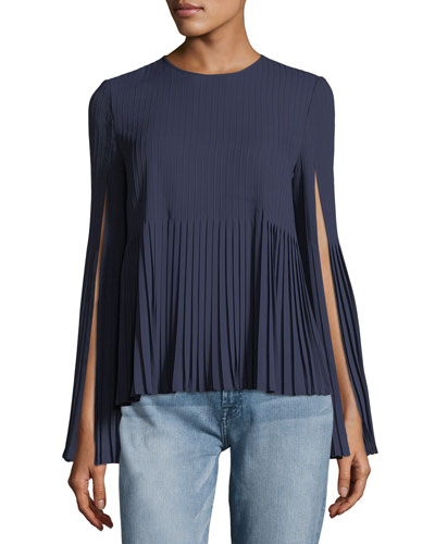 Seena Pleated Georgette Top with Sleeve Slits