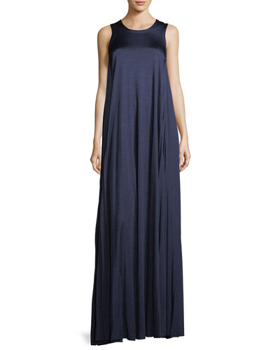 Abbott Sleeveless Satin Gown with Pleated Sides