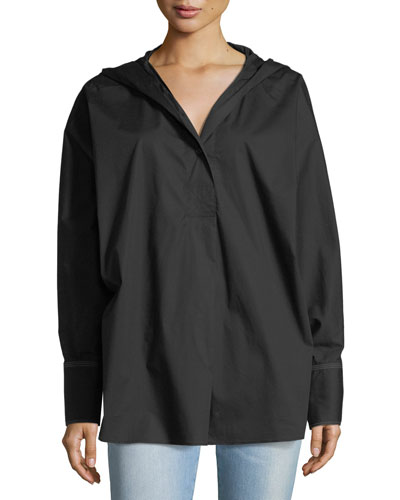 Carson Long-Sleeve Hooded Poplin Shirt