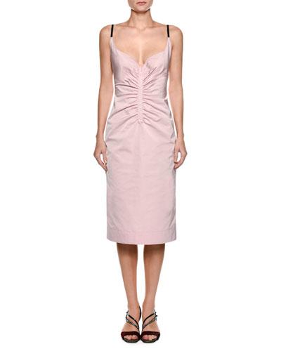 Sleeveless Ruched Duchess Satin Slip Cocktail Dress