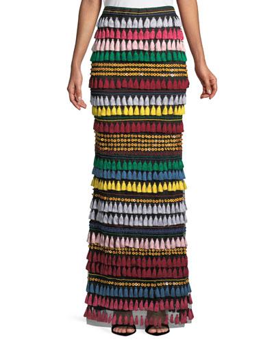Merrill Tiered Tassel Embellished Maxi Skirt