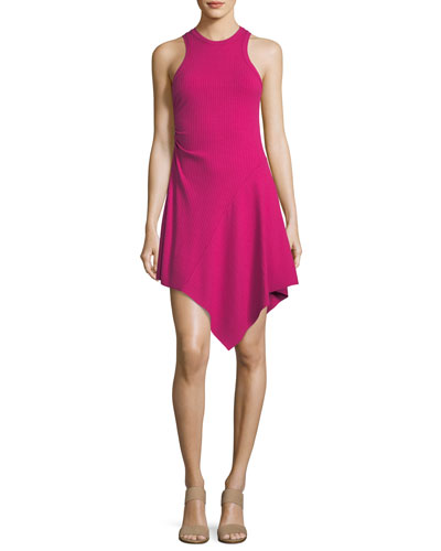 Bea Sleeveless Rib-Knit Dress w/ Asymmetric Hem