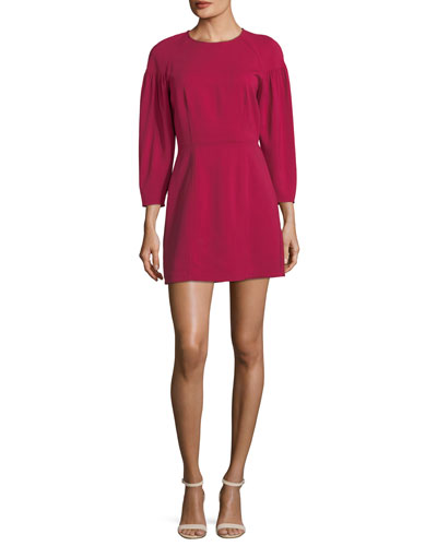 Renton Crewneck Pouf-Sleeve Short Dress