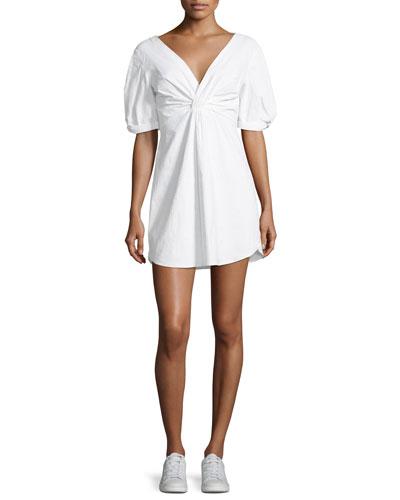 Mirren Twist-Front Linen-Blend Dress