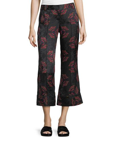 Evans Crop Flare Silk Pants
