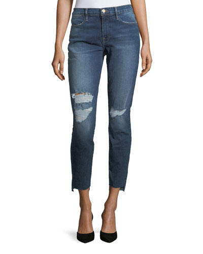 Le High Skinny Jeans with Raw Hem