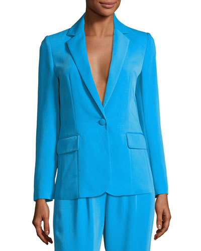 True Notched-Collar One-Button Blazer