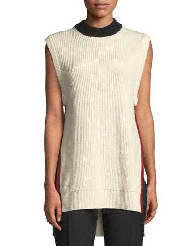 Sleeveless Side-Striped Sweater