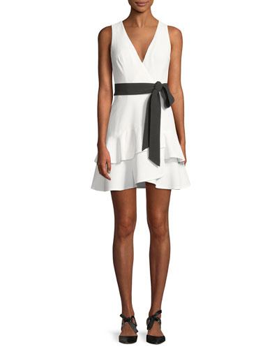 Olena Sleeveless Belted Flounce Mini Dress