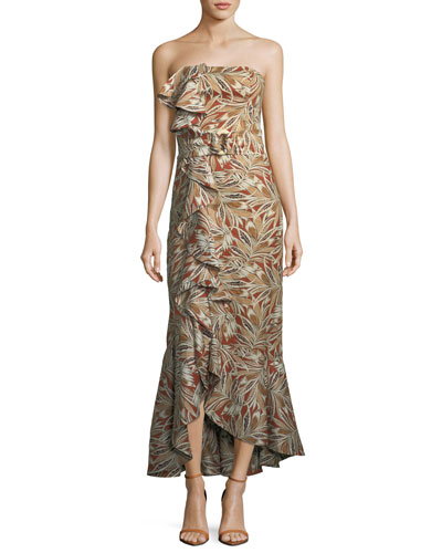 Faina Strapless Belted Leaf-Print Cocktail Dress with Ruffled Trim