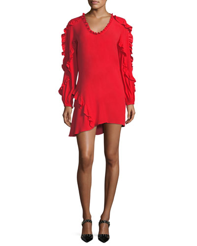 Ceretti Scoop-Neck Long-Sleeve Ruffled Crepe Dress