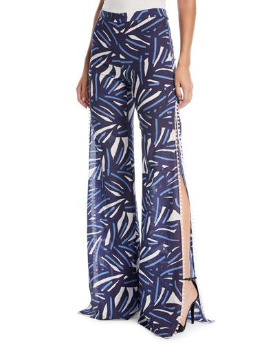 Levine Slit-Side Wide-Leg Printed Cotton Pants