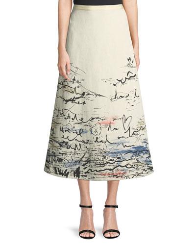 Scribble-Print Midi A-line Skirt