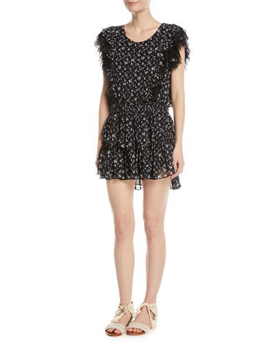 Katie Scoop-Neck Sleeveless Floral-Print Dress w/ Lace Trim