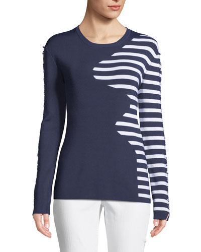 Dagani Striped Long-Sleeve Lace-Up Sweater