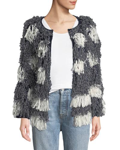 Kayes Pattern Long-Sleeve Fringe Jacket