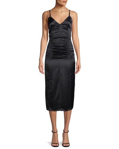 Ruched V-Neck Sleeveless Slip Cocktail Dress