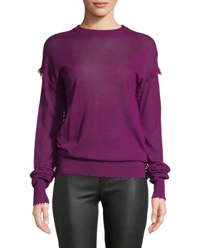 Crewneck Long-Sleeve Cashmere Fray Sweater